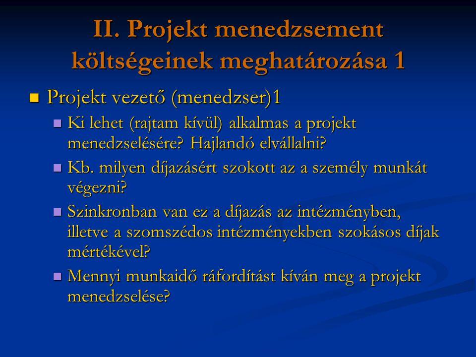 II. Projekt menedzsement költségeinek meghatározása 1 Projekt vezető (menedzser)1 Projekt vezető (menedzser)1 Ki lehet (rajtam kívül) alkalmas a proje