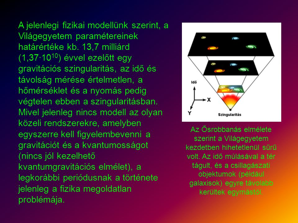 A jelenlegi fizikai modellünk szerint, a Világegyetem paramétereinek határértéke kb. 13,7 milliárd (1,37·10 10 ) évvel ezelőtt egy gravitációs szingul