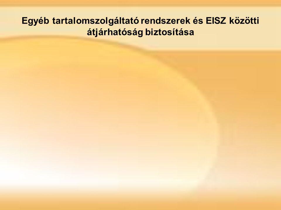 Egyéb tartalomszolgáltató rendszerek és EISZ közötti átjárhatóság biztosítása