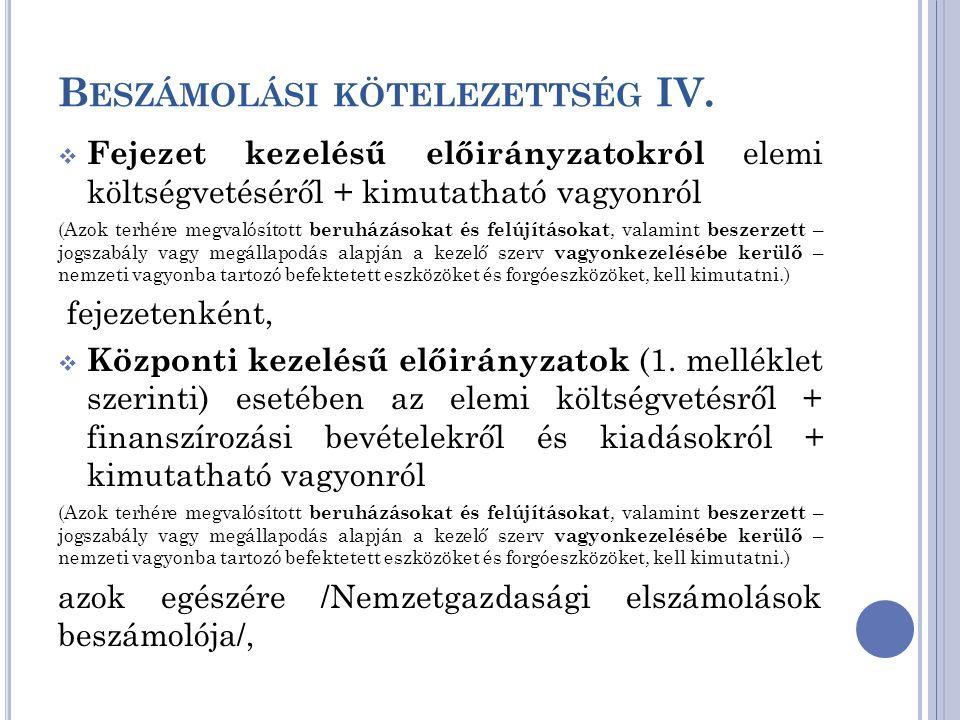 B ESZÁMOLÁSI KÖTELEZETTSÉG IV.  Fejezet kezelésű előirányzatokról elemi költségvetéséről + kimutatható vagyonról (Azok terhére megvalósított beruházá