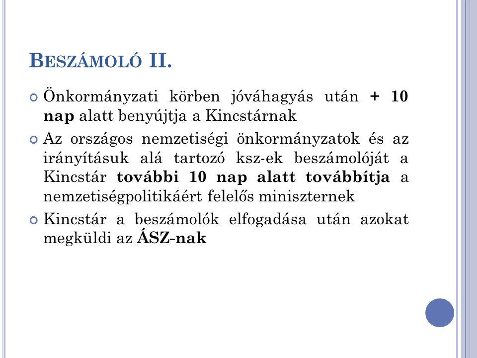 B ESZÁMOLÓ II. Önkormányzati körben jóváhagyás után + 10 nap alatt benyújtja a Kincstárnak Az országos nemzetiségi önkormányzatok és az irányításuk al