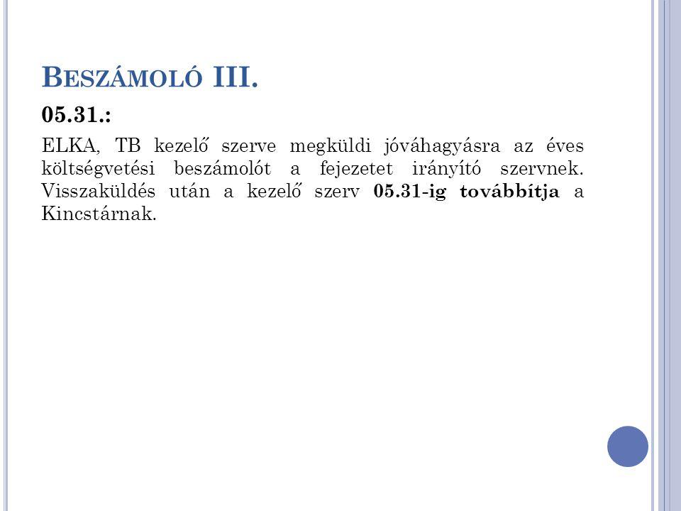 B ESZÁMOLÓ III. 05.31.: ELKA, TB kezelő szerve megküldi jóváhagyásra az éves költségvetési beszámolót a fejezetet irányító szervnek. Visszaküldés után