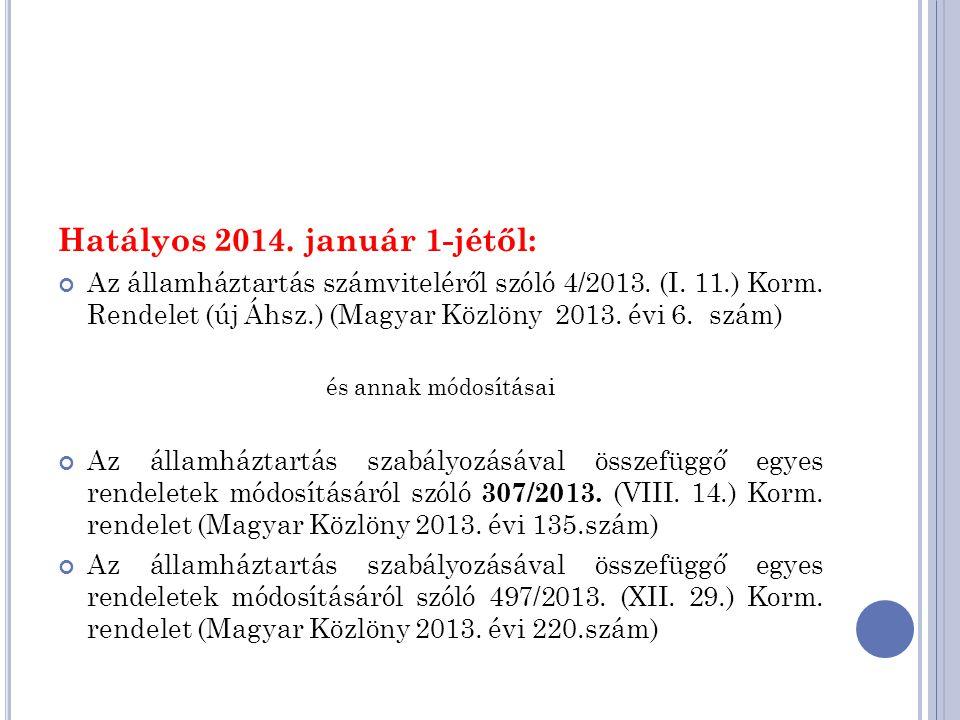 Hatályos 2014. január 1-jétől: Az államháztartás számviteléről szóló 4/2013. (I. 11.) Korm. Rendelet (új Áhsz.) (Magyar Közlöny 2013. évi 6. szám) és
