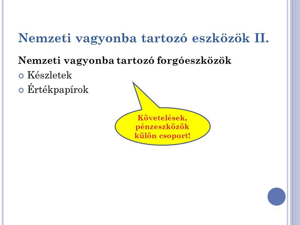 Nemzeti vagyonba tartozó eszközök II. Nemzeti vagyonba tartozó forgóeszközök Készletek Értékpapírok Követelések, pénzeszközök külön csoport!