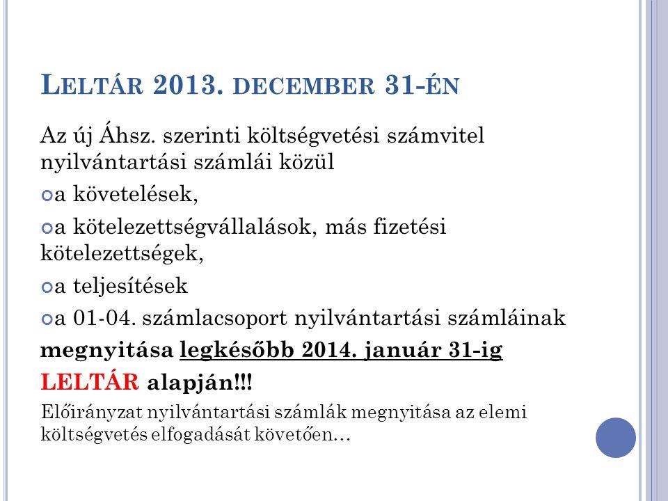 L ELTÁR 2013. DECEMBER 31- ÉN Az új Áhsz. szerinti költségvetési számvitel nyilvántartási számlái közül a követelések, a kötelezettségvállalások, más