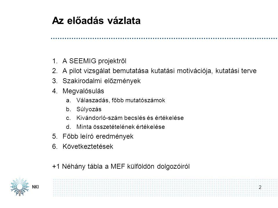 Az előadás vázlata 2 1.A SEEMIG projektről 2.A pilot vizsgálat bemutatása kutatási motivációja, kutatási terve 3.Szakirodalmi előzmények 4.Megvalósulás a.Válaszadás, főbb mutatószámok b.Súlyozás c.Kivándorló-szám becslés és értékelése d.Minta összetételének értékelése 5.Főbb leíró eredmények 6.Következtetések +1 Néhány tábla a MEF külföldön dolgozóiról