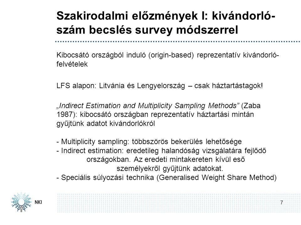 Szakirodalmi előzmények I: kivándorló- szám becslés survey módszerrel 7 Kibocsátó országból induló (origin-based) reprezentatív kivándorló- felvételek LFS alapon: Litvánia és Lengyelország – csak háztartástagok.