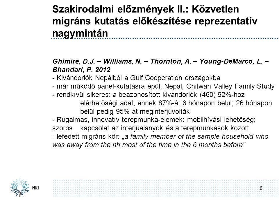 Szakirodalmi előzmények II.: Közvetlen migráns kutatás előkészítése reprezentatív nagymintán 8 Ghimire, D.J.