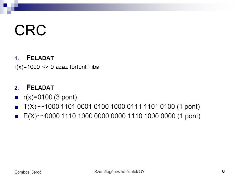 CRC 1. F ELADAT r(x)=1000 <> 0 azaz történt hiba 2.