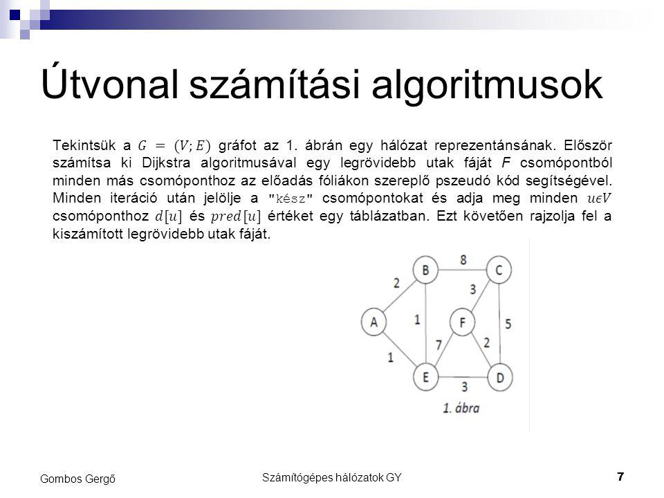 Útvonal számítási algoritmusok Gombos Gergő Számítógépes hálózatok GY7