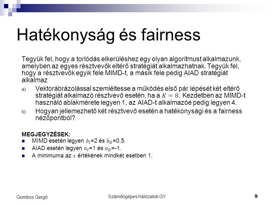 Hatékonyság, fairness tx 1 (t)x 2 (t)X(t)F(x) 01450,73 12570,84 246100,96 32570,84 446100,96 52570,84 646100,96 72570,84 846100,96 Számítógépes hálózatok GY10 Gombos Gergő