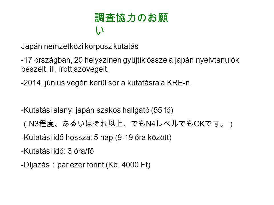 調査協力のお願 い Japán nemzetközi korpusz kutatás -17 országban, 20 helyszínen gyűjtik össze a japán nyelvtanulók beszélt, ill.