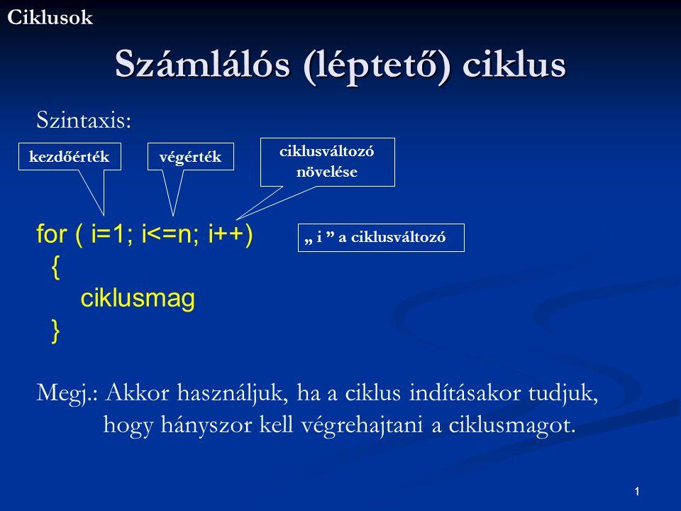 Ciklusok 1 Számlálós (léptető) ciklus Szintaxis: for ( i=1; i<=n; i++) { ciklusmag } Megj.: Akkor használjuk, ha a ciklus indításakor tudjuk, hogy hányszor kell végrehajtani a ciklusmagot.