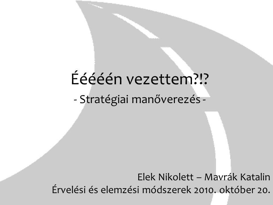 Elek Nikolett – Mavrák Katalin Érvelési és elemzési módszerek 2010. október 20. Ééééén vezettem?!? - Stratégiai manőverezés -