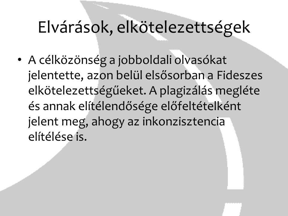 Elvárások, elkötelezettségek A célközönség a jobboldali olvasókat jelentette, azon belül elsősorban a Fideszes elkötelezettségűeket. A plagizálás megl