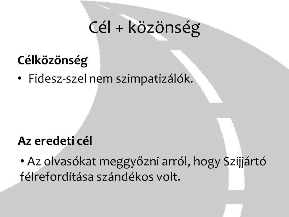 Cél + közönség Célközönség Fidesz-szel nem szimpatizálók. Az eredeti cél Az olvasókat meggyőzni arról, hogy Szijjártó félrefordítása szándékos volt.