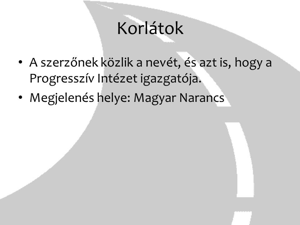 Korlátok A szerzőnek közlik a nevét, és azt is, hogy a Progresszív Intézet igazgatója. Megjelenés helye: Magyar Narancs