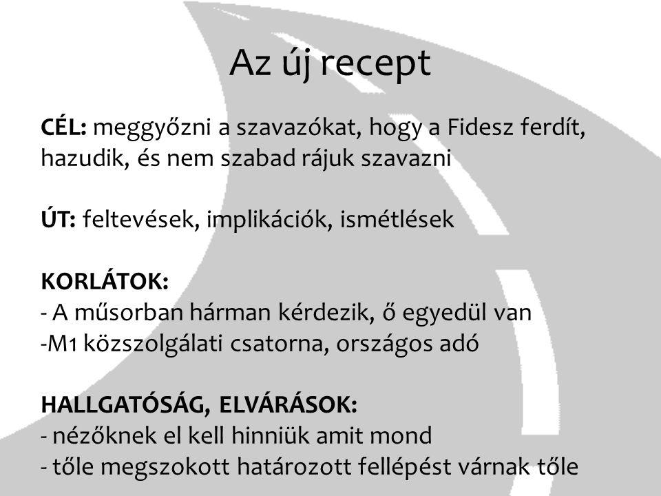 Az új recept CÉL: meggyőzni a szavazókat, hogy a Fidesz ferdít, hazudik, és nem szabad rájuk szavazni ÚT: feltevések, implikációk, ismétlések KORLÁTOK