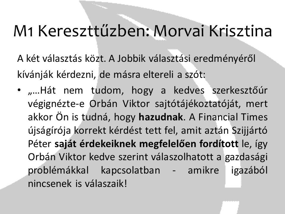 """M1 Kereszttűzben: Morvai Krisztina A két választás közt. A Jobbik választási eredményéről kívánják kérdezni, de másra eltereli a szót: """"…Hát nem tudom"""