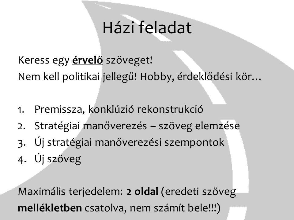 Házi feladat Keress egy érvelő szöveget! Nem kell politikai jellegű! Hobby, érdeklődési kör… 1.Premissza, konklúzió rekonstrukció 2.Stratégiai manőver