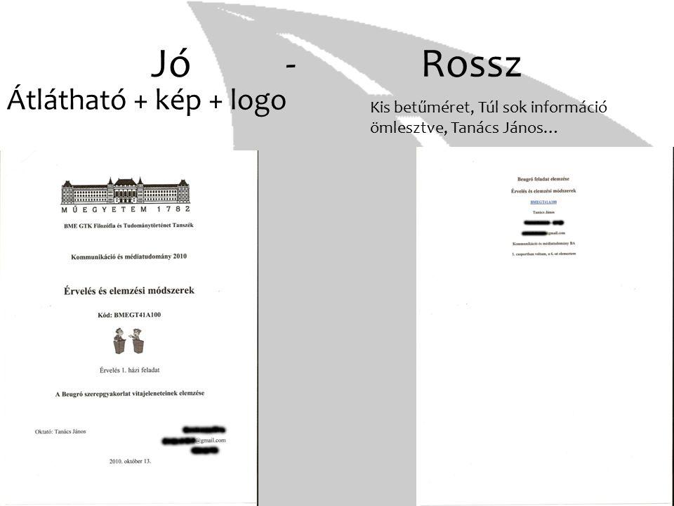 Jó- Rossz Átlátható + kép + logo Kis betűméret, Túl sok információ ömlesztve, Tanács János…