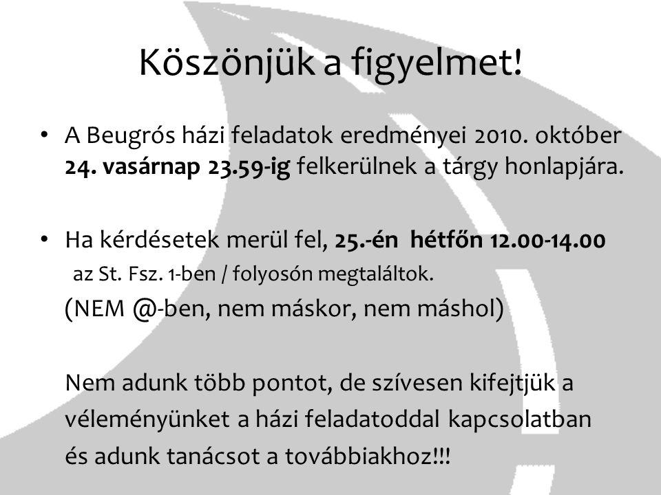 Köszönjük a figyelmet! A Beugrós házi feladatok eredményei 2010. október 24. vasárnap 23.59-ig felkerülnek a tárgy honlapjára. Ha kérdésetek merül fel