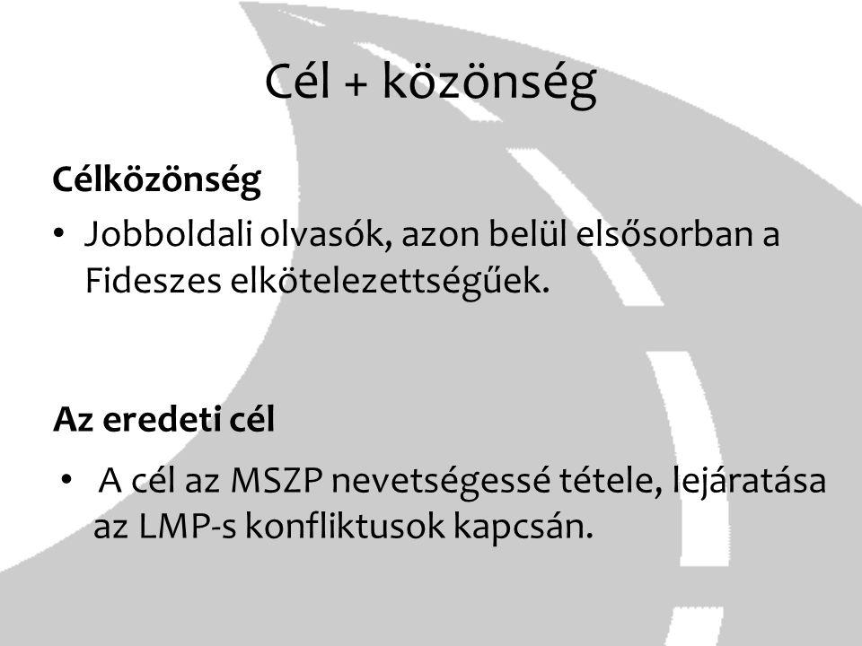 Cél + közönség Célközönség Jobboldali olvasók, azon belül elsősorban a Fideszes elkötelezettségűek. Az eredeti cél A cél az MSZP nevetségessé tétele,