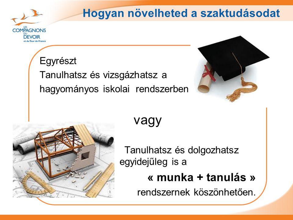 Hogyan növelheted a szaktudásodat Egyrészt Tanulhatsz és vizsgázhatsz a hagyományos iskolai rendszerben vagy Tanulhatsz és dolgozhatsz egyidejűleg is a « munka + tanulás » rendszernek köszönhetően.