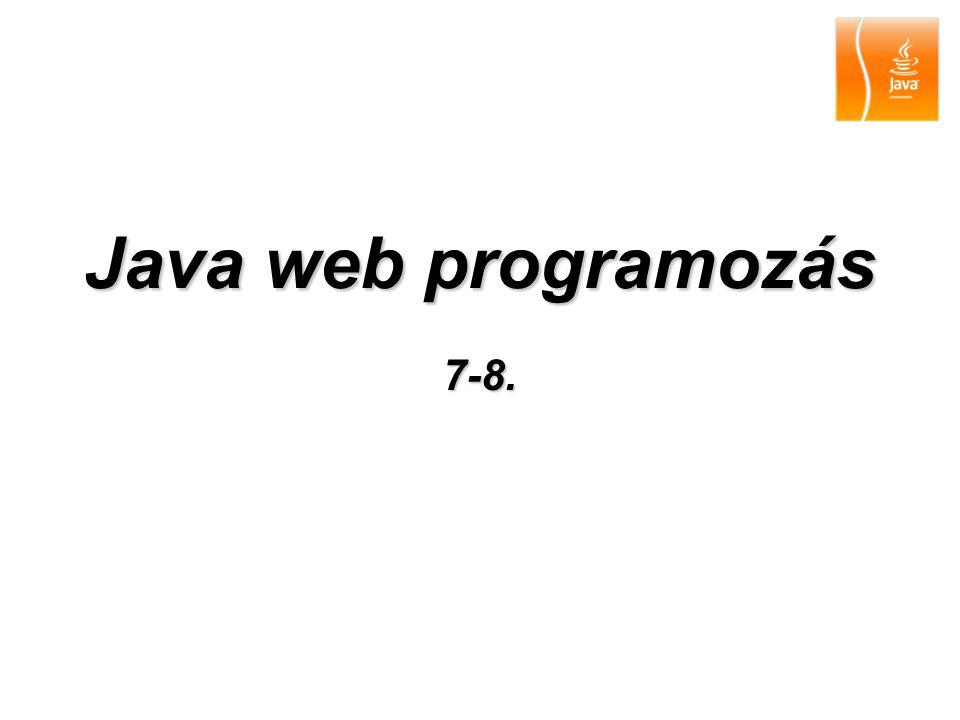 20092 Tartalom Java Server Pages (JSP) –JSP lapok futtatása –Script elemek –Direktívák –Megjegyzések –Akcióelemek –Egy Java Bean használata –Unified Expression Language –JSTL