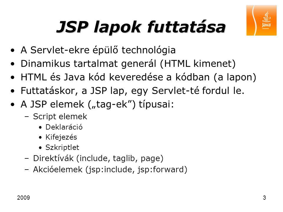 20093 JSP lapok futtatása A Servlet-ekre épülő technológia Dinamikus tartalmat generál (HTML kimenet) HTML és Java kód keveredése a kódban (a lapon) F