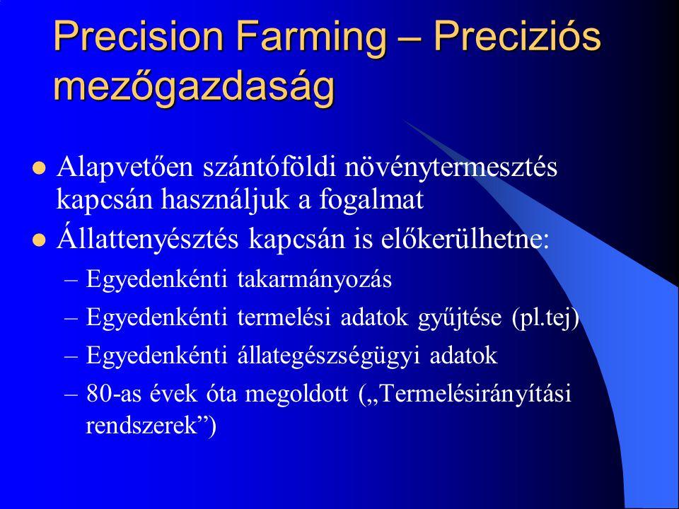 """Precision Farming – Preciziós mezőgazdaság Alapvetően szántóföldi növénytermesztés kapcsán használjuk a fogalmat Állattenyésztés kapcsán is előkerülhetne: –Egyedenkénti takarmányozás –Egyedenkénti termelési adatok gyűjtése (pl.tej) –Egyedenkénti állategészségügyi adatok –80-as évek óta megoldott (""""Termelésirányítási rendszerek )"""