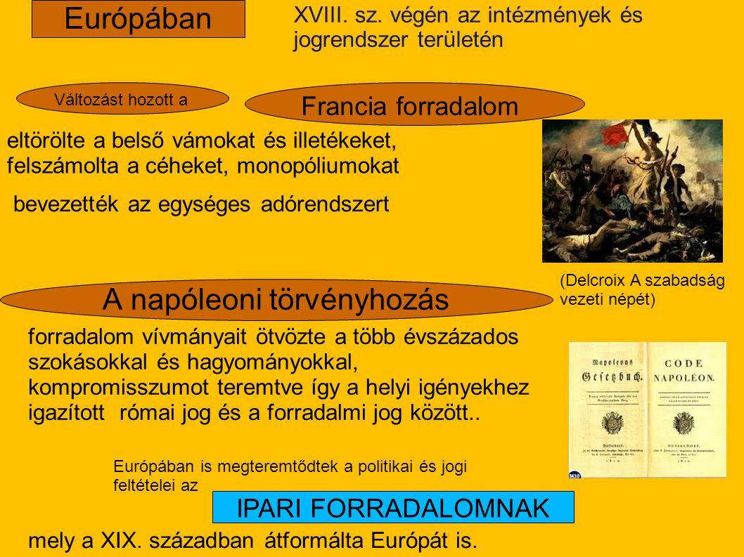 A napóleoni törvényhozás XVIII. sz. végén az intézmények és jogrendszer területén Európában eltörölte a belső vámokat és illetékeket, felszámolta a cé