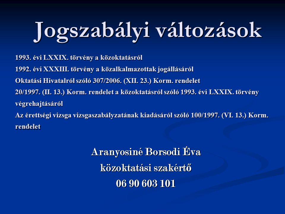 Jogszabályi változások 1993.évi LXXIX. törvény a közoktatásról 1992.