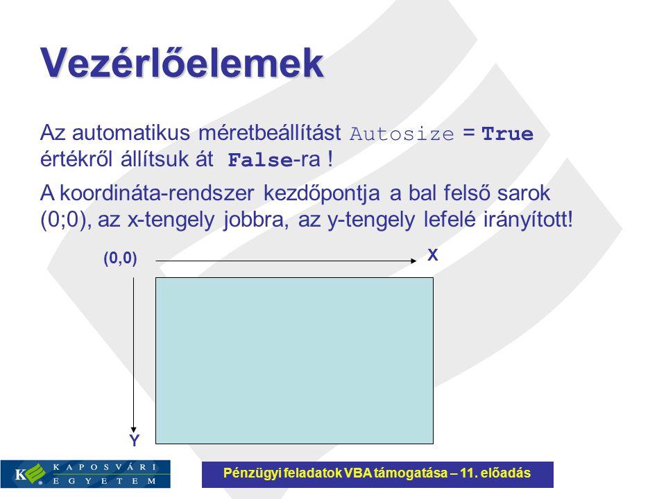 Vezérlőelemek Az automatikus méretbeállítást Autosize = True értékről állítsuk át False -ra ! A koordináta-rendszer kezdőpontja a bal felső sarok (0;0
