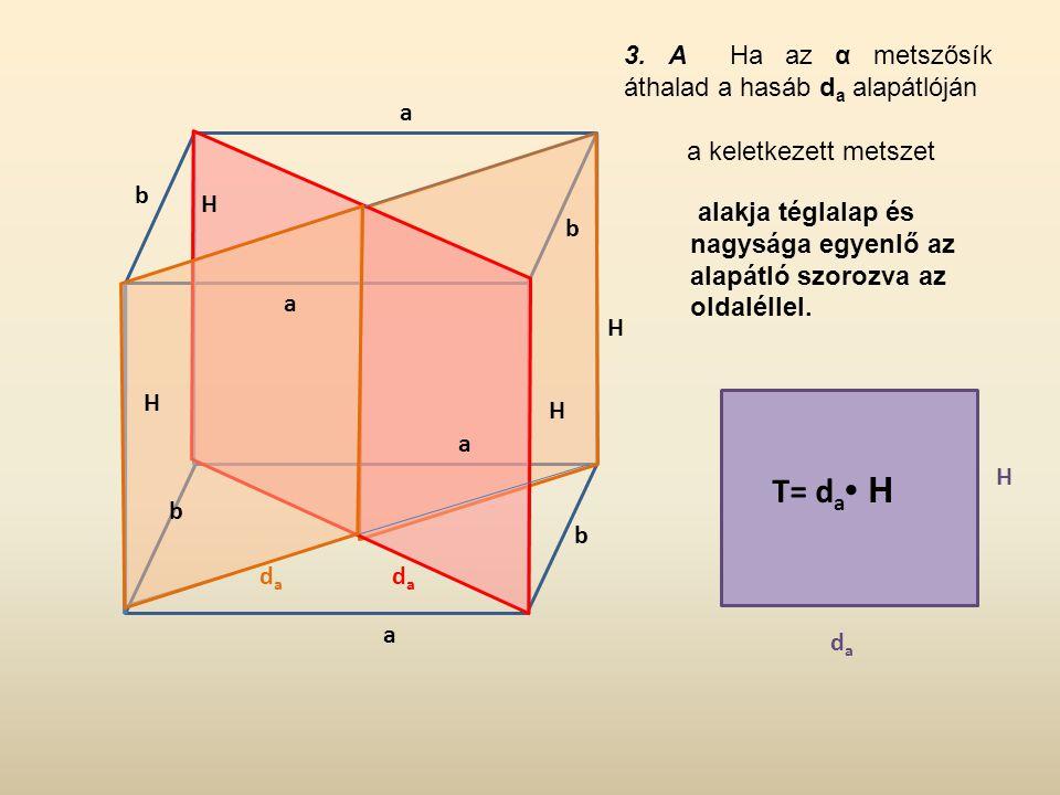 3. A Ha az α metszősík áthalad a hasáb d a alapátlóján a keletkezett metszet alakja téglalap és nagysága egyenlő az alapátló szorozva az oldaléllel. H