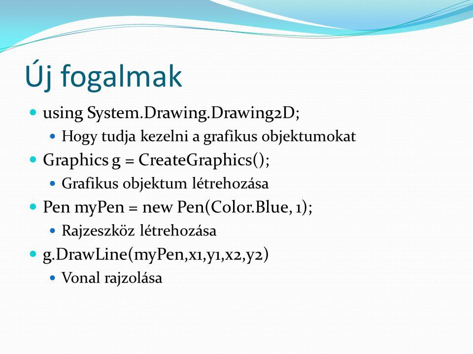 Új fogalmak using System.Drawing.Drawing2D; Hogy tudja kezelni a grafikus objektumokat Graphics g = CreateGraphics(); Grafikus objektum létrehozása Pen myPen = new Pen(Color.Blue, 1); Rajzeszköz létrehozása g.DrawLine(myPen,x1,y1,x2,y2) Vonal rajzolása