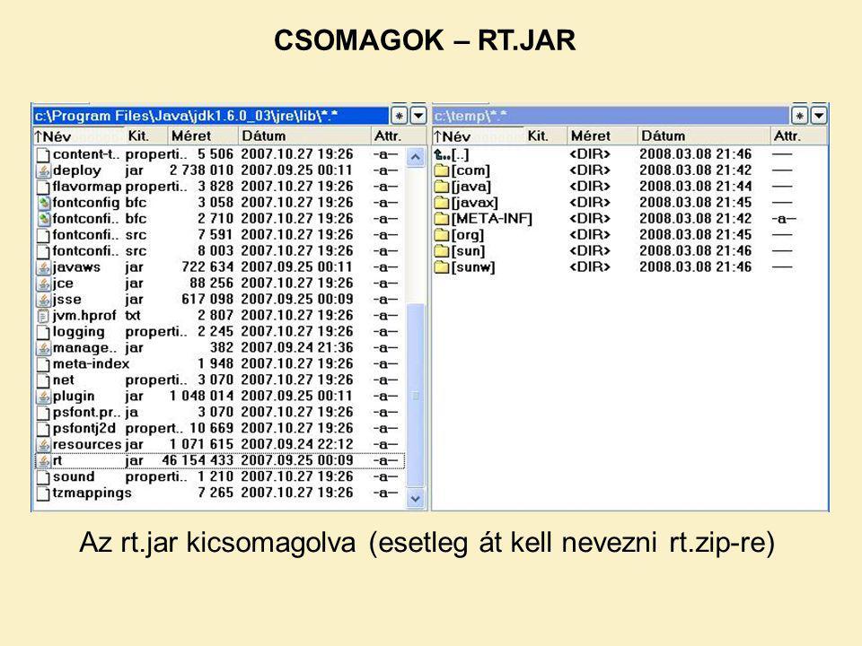 CSOMAGOK – RT.JAR Az rt.jar kicsomagolva (esetleg át kell nevezni rt.zip-re)