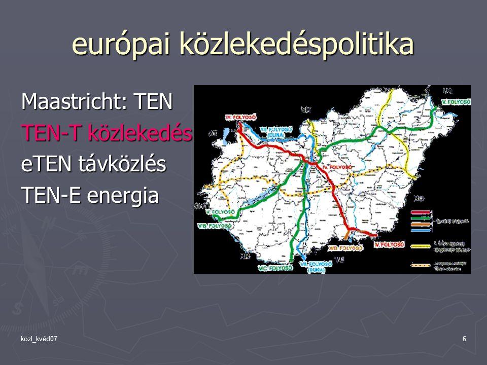 közl_kvéd076 európai közlekedéspolitika Maastricht: TEN TEN-T közlekedés eTEN távközlés TEN-E energia