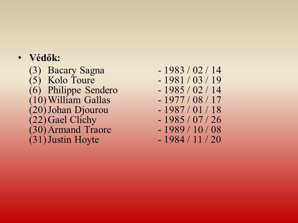 Védők: (3)Bacary Sagna - 1983 / 02 / 14 (5)Kolo Toure - 1981 / 03 / 19 (6)Philippe Sendero - 1985 / 02 / 14 (10)William Gallas - 1977 / 08 / 17 (20)Jo
