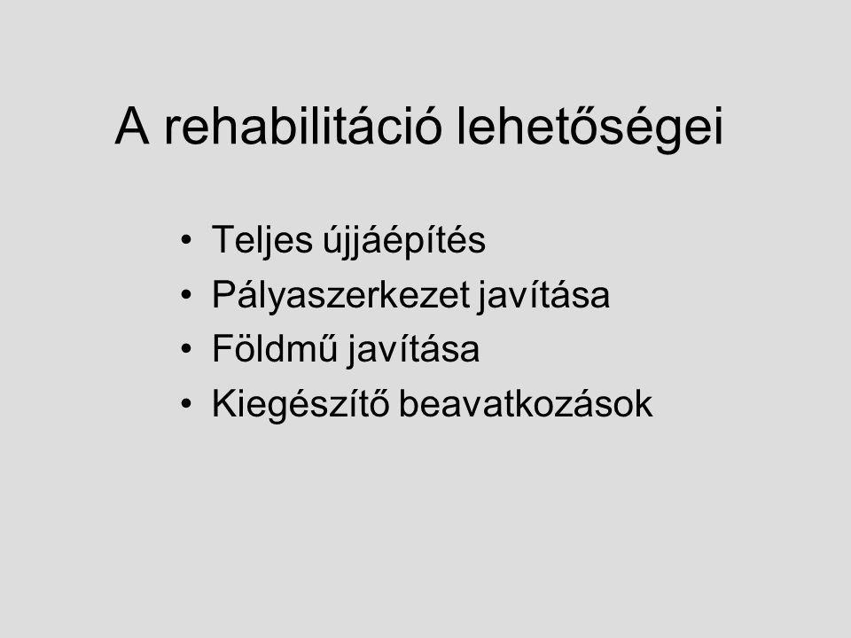 A rehabilitáció lehetőségei Teljes újjáépítés Pályaszerkezet javítása Földmű javítása Kiegészítő beavatkozások