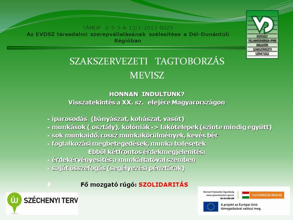 TÁMOP -2-5-3-A-13/1-2013-0025 Az EVDSZ társadalmi szerepvállalásának szélesítése a Dél-Dunántúli Régióban HOVÁ JUTOTTUNK.