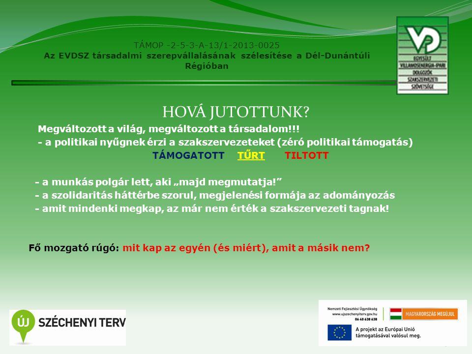 """TÁMOP -2-5-3-A-13/1-2013-0025 Az EVDSZ társadalmi szerepvállalásának szélesítése a Dél-Dunántúli Régióban MEVISZ stratégia CÉLCSOPORTOK – CÉLSZEMÉLYEK BEAZONOSÍTÁSA - az új belépő - a """"régi dolgozó (miért tartja távol magát?) - elvi kontra anyagi A kommunikációnk két alappillére: - bizonyítása annak, összefogással többet érünk el - éreztetése annak, hogy TE tag vagy ezért kapod 4"""