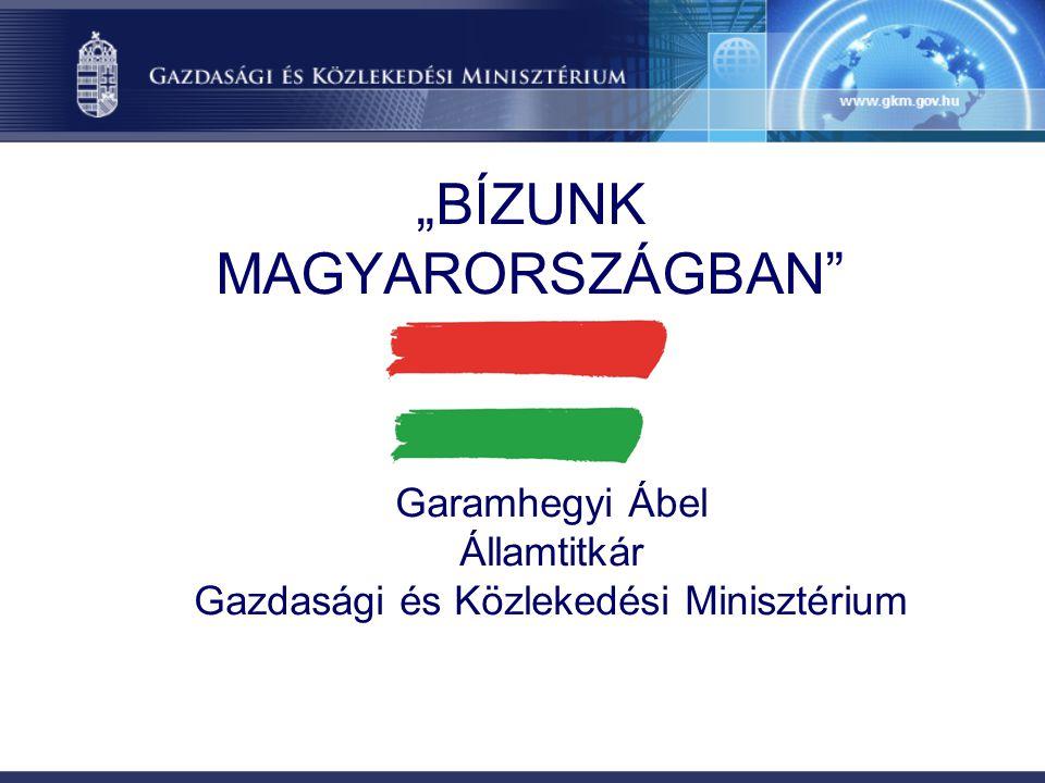 """""""BÍZUNK MAGYARORSZÁGBAN"""" Garamhegyi Ábel Államtitkár Gazdasági és Közlekedési Minisztérium"""