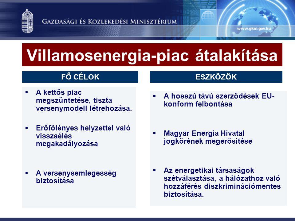 Villamosenergia-piac átalakítása  A kettős piac megszüntetése, tiszta versenymodell létrehozása.