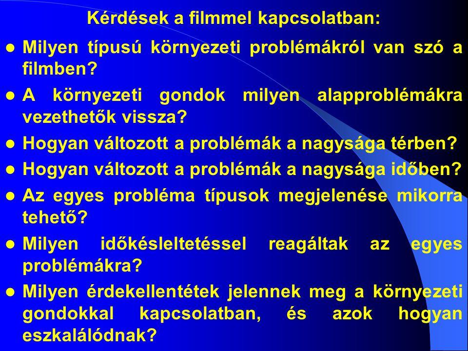 Kérdések a filmmel kapcsolatban: Milyen típusú környezeti problémákról van szó a filmben? A környezeti gondok milyen alapproblémákra vezethetők vissza