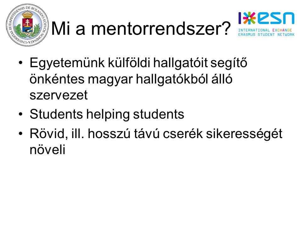 Mi a mentorrendszer dv Egyetemünk külföldi hallgatóit segítő önkéntes magyar hallgatókból álló szervezet Students helping students Rövid, ill.