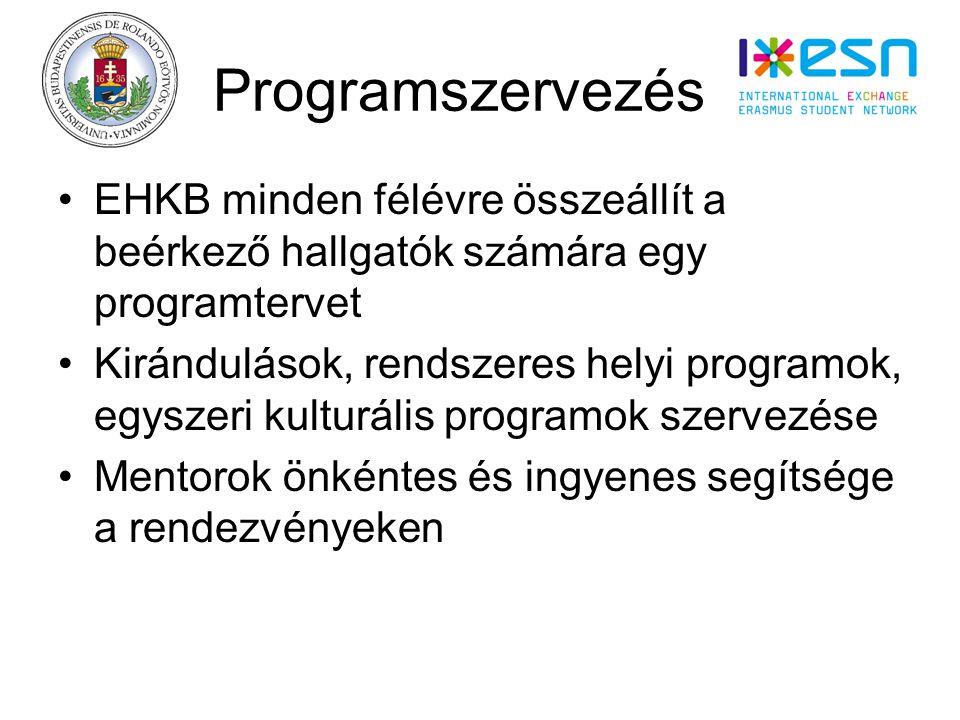 Programszervezés s EHKB minden félévre összeállít a beérkező hallgatók számára egy programtervet Kirándulások, rendszeres helyi programok, egyszeri kulturális programok szervezése Mentorok önkéntes és ingyenes segítsége a rendezvényeken