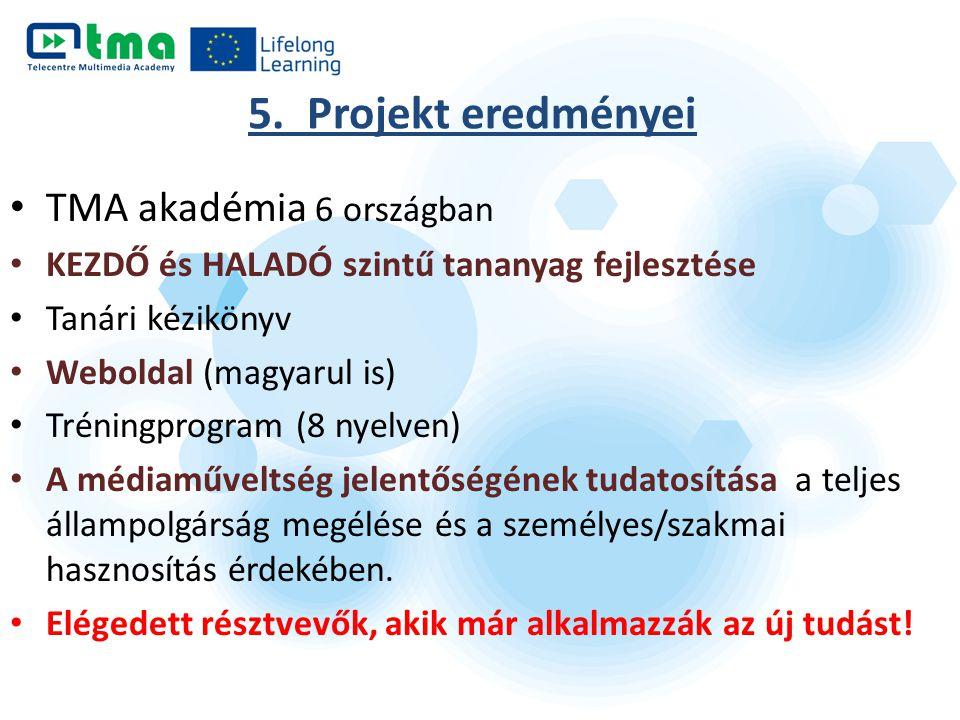 5. Projekt eredményei TMA akadémia 6 országban KEZDŐ és HALADÓ szintű tananyag fejlesztése Tanári kézikönyv Weboldal (magyarul is) Tréningprogram (8 n