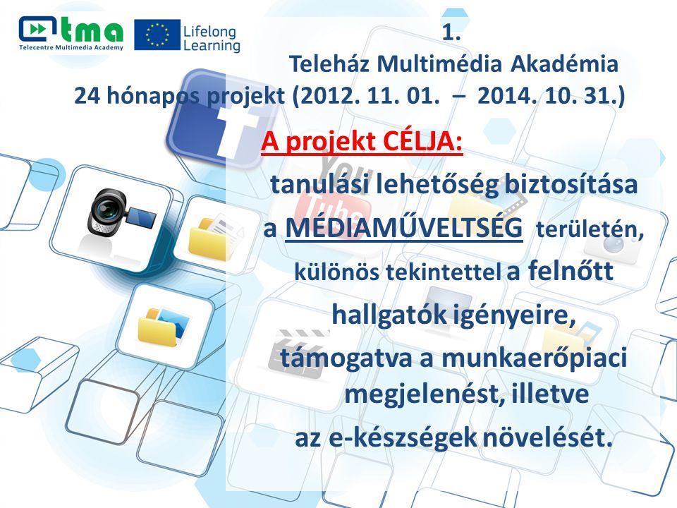 1. Teleház Multimédia Akadémia 24 hónapos projekt (2012. 11. 01. – 2014. 10. 31.) A projekt CÉLJA: tanulási lehetőség biztosítása a MÉDIAMŰVELTSÉG ter