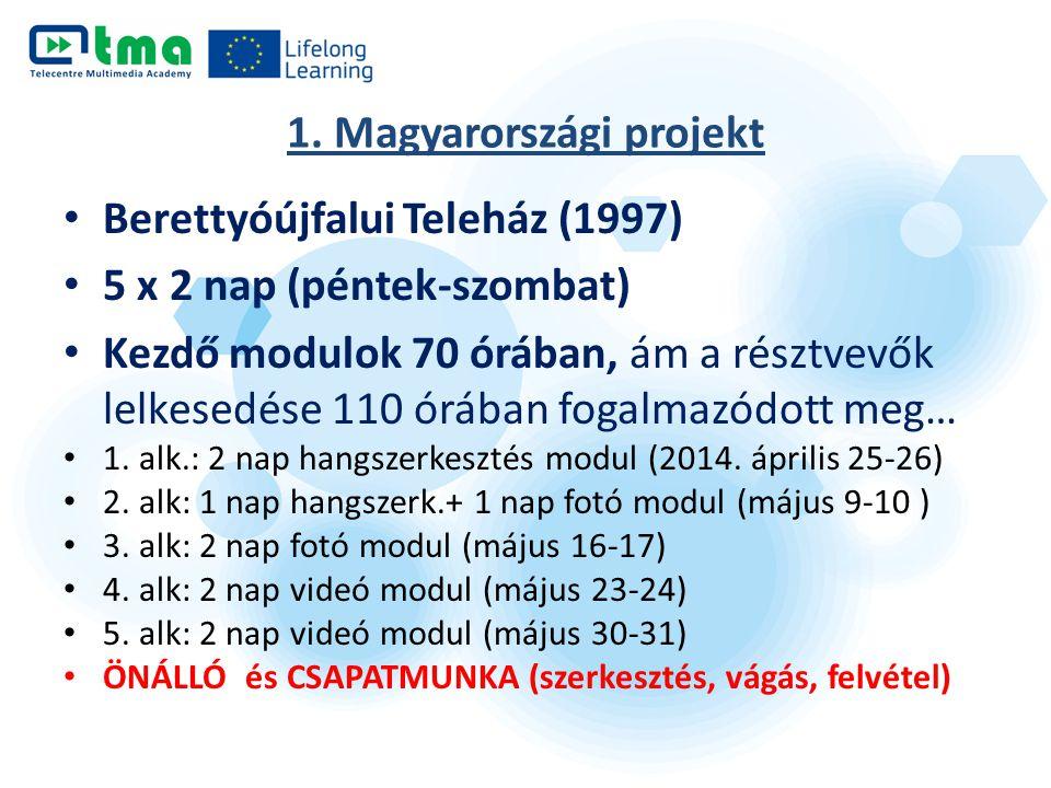 1. Magyarországi projekt Berettyóújfalui Teleház (1997) 5 x 2 nap (péntek-szombat) Kezdő modulok 70 órában, ám a résztvevők lelkesedése 110 órában fog